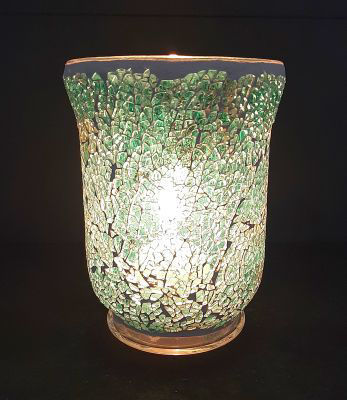 Picture of Candle holder - Glass green mosaic - 11.5cm (D) x 15cm (H) OUT of STOCK