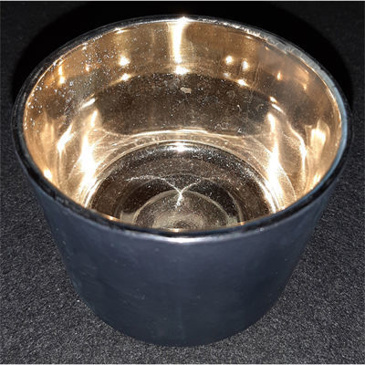 Picture of Candle holder - Black & gold glass cup - 8.5cm (D) x 6cm (H)