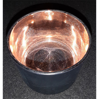 Picture of Candle holder - Black & rose gold glass cup - 8.5cm (D) x 6cm (H)