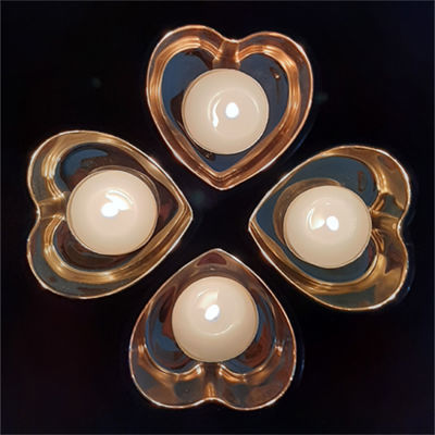 Picture of Candle holder - Black & rose gold glass heart - 8cm (L) x 8cm (W) x 4cm (H)